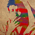Bob Dylan Watercolor Portrait On Worn Distressed Canvas by Design Turnpike