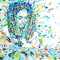 Bob Marley Playing The Guitar - Watercolor Portarit by Fabrizio Cassetta