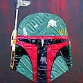 Boba Fett Star Wars Bounty Hunter Helmet Recycled License Plate Art by Design Turnpike