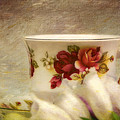 Bone China Teacup And Foxgloves by Peggy Collins