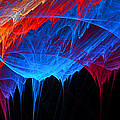 Borealis - Blue And Red Abstract by Lourry Legarde