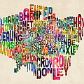 Boroughs Of London Typography Text Map by Michael Tompsett