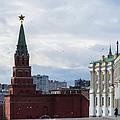 Borovitskaya Tower Of Moscow Kremlin - Square by Alexander Senin