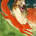 Borzoi Art - Hunting In The Ussr Poster by Sandra Sij