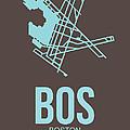 Bos Boston Airport Poster 2 by Naxart Studio