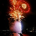 Boston Fireworks  Rings And Pinwheels by John B Poisson