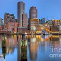 Boston Harbor And Skyline Morning Twilight IIi by Clarence Holmes