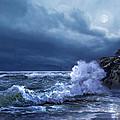 Boston Harbor Lighthouse Moonlight Scene by Regina Femrite