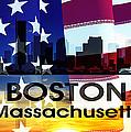 Boston Ma Patriotic Large Cityscape by Angelina Vick