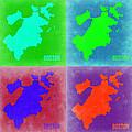Boston Pop Art Map 2 by Naxart Studio