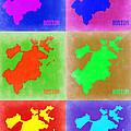 Boston Pop Art Map 3 by Naxart Studio