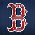 Boston Red Sox Logo Letter B Baseball Team Vintage License Plate Art by Design Turnpike