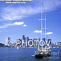 Boston Skyline And Sailboat - Massachusetts - Limited Edition by Hisham Ibrahim