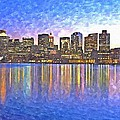 Boston Skyline By Night by Rachel Niedermayer