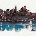 Boston Skyline  Number 1 by Diane Strain