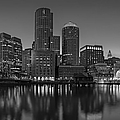 Boston Skyline Seaport District Bw by Susan Candelario