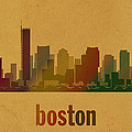 Boston Skyline Watercolor On Parchment by Design Turnpike
