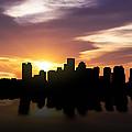 Boston Sunset Skyline  by Aged Pixel
