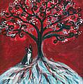 Boston Terrier Tree Love by Angie  Ketelhut