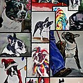 Boston Terrier Watercolor Collage by Susan Herber