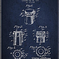Bottle Cap Fastener Patent Drawing From 1907 - Navy Blue by Aged Pixel