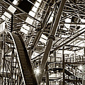 Bottom Of A Gigantic Ferris Wheel In Sepia by Beverly Claire Kaiya