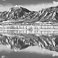 Boulder Reservoir Flatirons Reflections Boulder Co Bw by James BO Insogna
