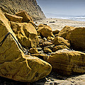 Boulders On The Beach At Torrey Pines State Beach by Randall Nyhof
