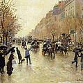 Boulevard Poissonniere In The Rain, C.1885 Oil On Canvas by Jean Beraud