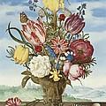 Bouquet Of Flowers On A Ledge by Ambrosius Bosschaert the Elder