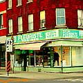 Boutique Fleuriste Coin Vert St Henri Flower Shop Notre Dame Montreal Urban Scenes Carole Spandau  by Carole Spandau