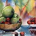 Apples In A Wooden Bowl With Cherries On The Side by Maria Hunt