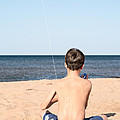 Boy At The Beach Flying A Kite by Edward Fielding
