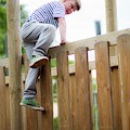 Boy Climbing Over Wooden Fence by Samuel Ashfield