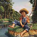 Boy Fishing In River Landscape - Childhood Memories - Flashback - Folkart - Nostalgic - Walt Curlee by Walt Curlee