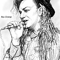 Boy George Art Drawing Sketch Portrait by Kim Wang