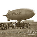Boy Scouts And Goodyear Blimp Guarding Graf Zeppelin Los Angeles Airport Aug. 26 1929 by California Views Archives Mr Pat Hathaway Archives