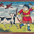 Boy With Dog Ducks Hunting. Bow And Arrow. Landscape. Matches. Match Book Antique Matchbox Cover. by Pierpont Bay Archives