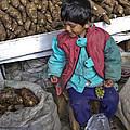 Boy With Grapes - Cusco Market by Allen Sheffield