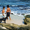 Boys And Their Dog At The Beach by Trever Miller