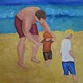 Paul, Brady Gavin At The Beach by Patricia Cleasby
