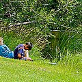 Boys Fishing In Pipestone National Monument-minnesota by Ruth Hager