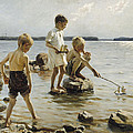 Boys Playing On The Shore by Albert Edelfelt