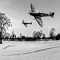 Low-flying Spitfires Black And White Version by Gary Eason