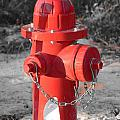 Brand New Red Hydrant On Bw by Jeff at JSJ Photography