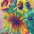Brandy's Sunflowers - Still Life On Windowsill by Talya Johnson
