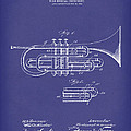 Brass Musical Instrument 1906 Patent Art Blue by Prior Art Design