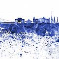 Bratislava Skyline In Blue Watercolor On White Background by Pablo Romero