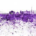Bratislava Skyline In Purple Watercolor On White Background by Pablo Romero
