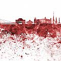 Bratislava Skyline In Red Watercolor On White Background by Pablo Romero